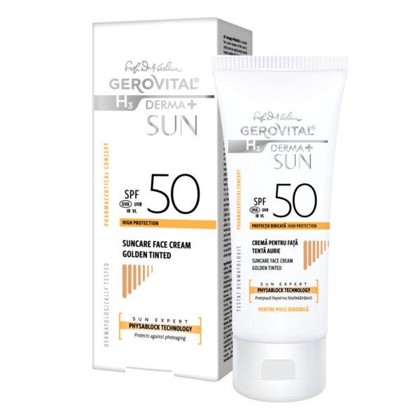 Crème Solaire Visage SPF 50 Teinte Dorée Sun Expert